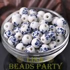 10pcs10mm Round Porcelain Ceramic Loose Spacer Beads Findings Charms Black Blue