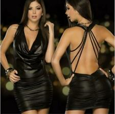 Sexy Black Backless Halter Wet Faux Leather Bodycon Dress - Womens Dresses