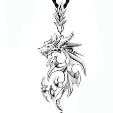 fashion mens silver dragon shape pendant necklace jewelry with Leather Chain