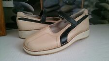 No Boy's Ladies Beige Mary Jane Low Wedge Heel Shoes..... Size 5 (38)