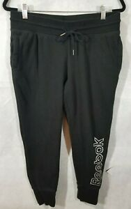 Reebok Joggers Womens Black Jogging Pants Ladies Sweatpant Bottoms Logo Down Leg