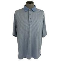 FootJoy Mens L Blue White Striped Golf Polo Wicking Stretch Fairway Shirt