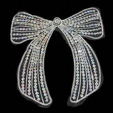 1 WHITE BOW APPLIQUE WITH SEQUINS 200x180mm SEW ON MOTIF EMBELLISHMENT HL1120
