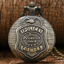 Xmas POLICE Retro Vintage Quartz Pocket Watch Necklace Mens Womens Students 365
