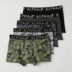 Alpha mens 5 pack camouflage print trunks