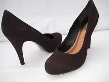 Nine West womens dark brown high heel leather platform  pumps shoes size 12 B,M