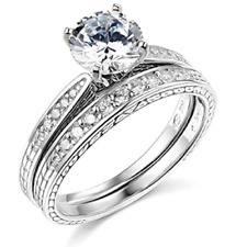 2.00 Ct Round Cut Engagement Wedding Ring Set Real 14K White Gold Matching Band