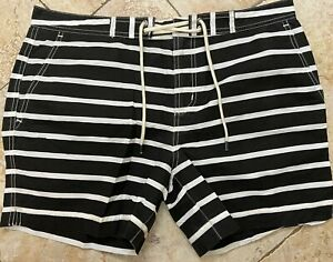 Polo Ralph Lauren Swim Trunks Lined Shorts Swimsuit Black White Striped Size 32