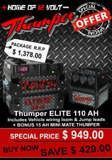 Thumper Elite 110ah Battery Pack 12 Volt Deep Cycle W USB Engel Anderson Sockets