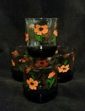 Set of 4 Vintage Libbey Raised Design Drinking Glasses Tumblers Orange flowers