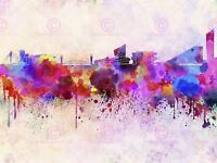 Painting Cityscape Paint Splash Skyline Manchester Canvas Art Print