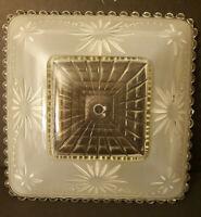 "Vtg light fixture Frosted Glass Ceiling Shade Square Art Deco 11"" MCM Nouveau"