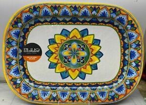 "Melamine Serving Tray Blue Yellow Spanish Mosaic New NWT Il Mulino 17  1/4 """