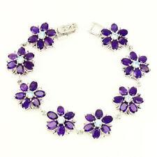 Sterling Silver 925 Genuine Natural Amethyst Gemstone Flower Bracelet 71/4 Inch