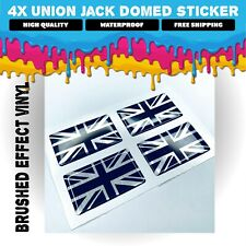 4X Union Jack Domed GB Flag Stickers BRUSHED EFFECT Decals Badge GLOSS GEL