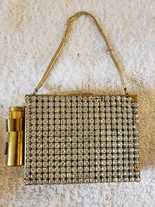 Vintage Mid Century Jewelled Brass Ladies Cigarette Case Make-Up Compact Purse