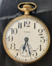 Jewels Gold Filled 20 Years Works Antique Elgin Open Face Pocket Watch 15
