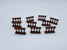 LEGO LOT 10 X FENCE 1X4X2 W. 4 KNOBS REDDISH BROWN REF 15332 /6066114 *NEUF*