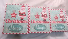 Christmas Gift Boxes Believe in Magic Nesting Set of 3 Teal Wave Snowflakes