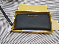 Genuine Michael Kors Saffiano Leather Jet Set Travel Purse strap Wallet black !