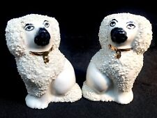 2 Small Tiny Staffordshire Style Pottery Confetti Dog Poodle Figures-Age Unknown