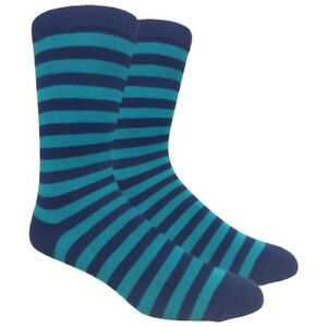 Men's FineFit Black Novelty Socks - Navy / Teal Stripes
