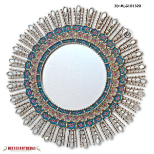"Hand-crafted Sunburst Round Mirror 30"" from Peru - Peruvian Wall Mirror Decor"