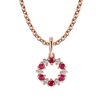 10k Rose Gold Genuine Ruby and White Topaz Petite Circle Pendant Necklace