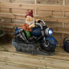 Garden Gnome LED Water Feature Outdoor Cascading Fountain Bike Large H59.5cm