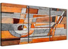 PANNELLO 3 Grigio Arancione Bruciato Pittura Tela Arte della cucina-Astratto 3405 - 126cm