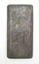 Antique Cigarette Case Sterling 950 Silver Japanese Etched Bamboo Design Long