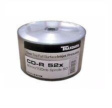 100 Traxdata Full Printable Silver CD-R 52x Discs 700MB Ritek Blank CDR CD discs