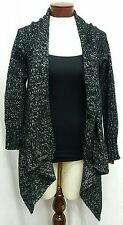 MERONA XS Cardigan Black Space Dye White Long Sleeve Open Front Flyaway Sweater