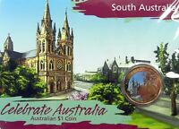 2009 $1 CELEBRATE AUSTRALIA SOUTH AUSTRALIA Coin on Card