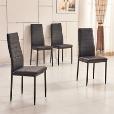 4x High Back Black Faux Leather Dining Chairs Metal Legs Kitchen Dinning Room