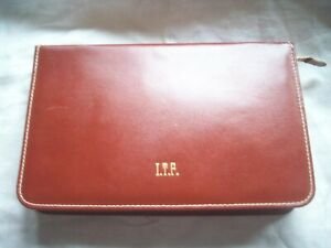 VINTAGE CONMAR LEATHER USA BROWN TOILETRY TRAVEL CASE ZIPPER