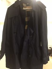 Mens Navy Blue Burberry Brit Cotton Trenchcoat size Large L in Excellent cond.