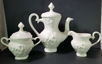 Vintage White Ceramic Coffee Pot Creamer Sugar Bowl Set Signed 1976 Art Pottery