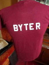 Medium True Vtg 80's Fuzzy Letters Burgundy Thin T-shirt Sportswear Usa