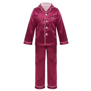 Kids Boys Girls Satin Pajamas Silk Outfit Button-Down Long Sleeve Sleepwear 2PCS