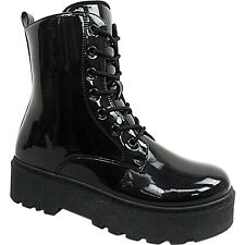 Womens Ladies Chunky Sole Wedge Platform Doc icon Punk Army Ankle Boots Size Zip