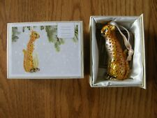 Pier 1 Cloisonne Collection Leopard Christmas Ornament-New with Box