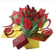 3D Pop Up Card Rose Flower Handmade Greeting Cards Birthday Wedding Invitation