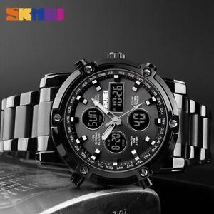 SKMEI Men Quartz Watch Outdoor Sport Digital Stainless Steel Wristwatch