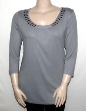NEW Effortless Style by Citiknits LARGE 3/4 Sleeve Ruched Jersey Knit Tunic