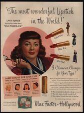 1948 LANA TURNER - MAX FACTOR Hollywood Lipstick & Make Up VINTAGE AD