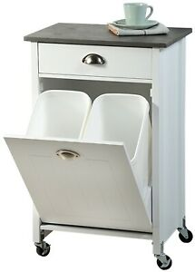 Kesper Küchenwagen mit Mülltrennsystem aus Holz 50 x 79 x 37     25527-13