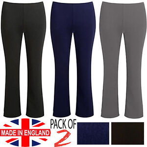 WOMENS BOOTLEG TROUSERS PACK OF 2 LADIES BOOTCUT STRETCHY PULL ON WORK BOTTOM