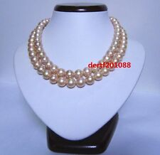AAAA 35 '' 11-12 mm Australia PINK pearl necklace 14k gold clasp