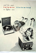1959 For Your Leisure Listening Children Record Player Retro Vintage Advert